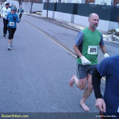 Barefoot Runner at the Irish Road Rover 5K in Portland, ME